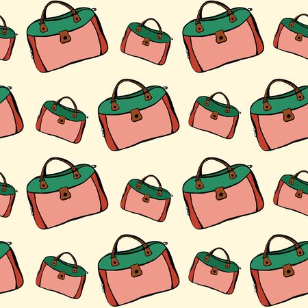 Traveling mood - seamless hand drawn pattern with carpetbag. Positive bags of green and orange are located on yellow background in chaotic rows. Illustration for delivery, tourism, transportation