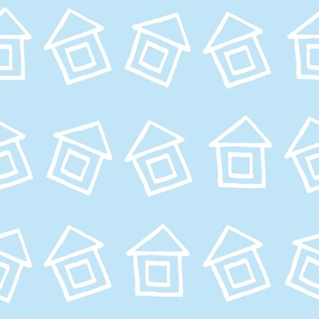Simple doodle pint with cozy white homes. Hand drawn houses are located in chaotic style. Seamless pattern for graphic design and children's goods.Vector illustration.