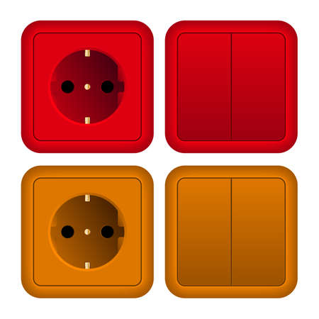 switch on: Illustration of socket and switch
