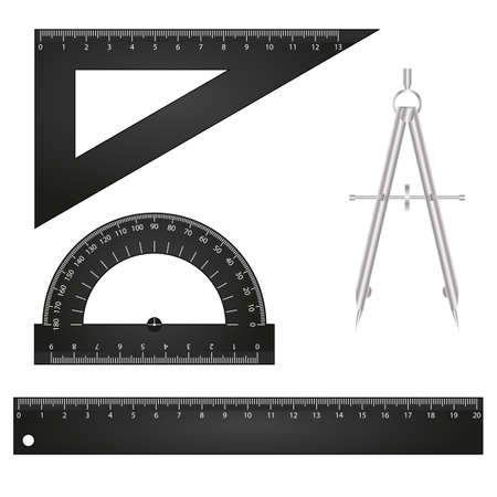 ruler: Illustration of ruler and compasses