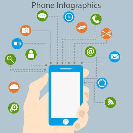 infographics touchscreen: Vector illustration infographics phone