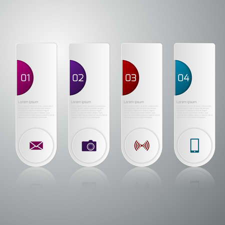 four corners: Vector illustration infographics four rectangles with rounded corners.