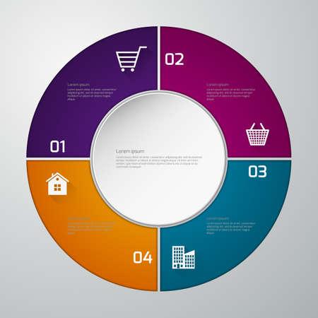 sectors: Vector illustration infographics paper circle. four sectors