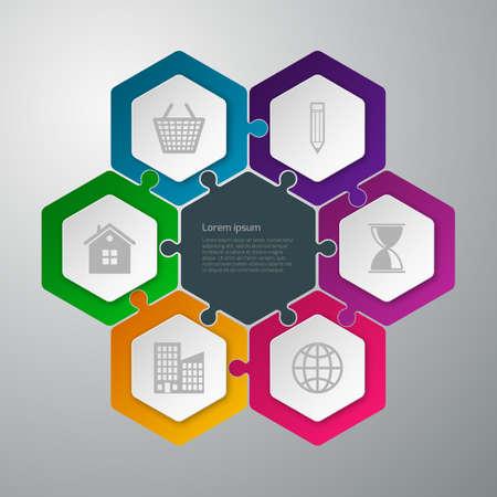 ベクトル イラスト インフォ グラフィックの六角形の接続パズル。