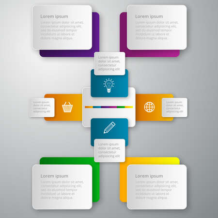 Vector illustration infographics paper rectangles. Vector