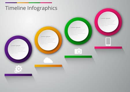 quadrant: Vector illustration infographics paper circles with shadows.