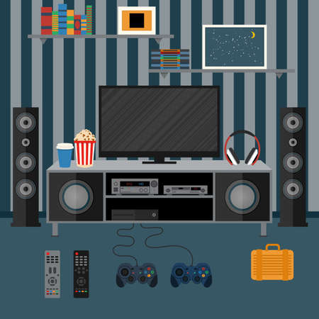 Vector illustration apartment with a home cinema. Illustration flat TV. Stock Illustratie