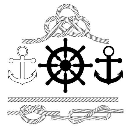 Vector illustration on the theme of the sea . Anchor, steering wheel, rope knots.