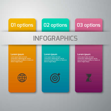 Vector illustration of business infographics 3 options . Rectangles with rounded corners.