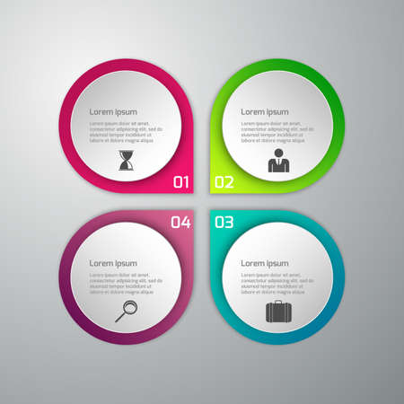 Vector illustration of business infographics 4 options . Set of circles with arrows. paper circles.