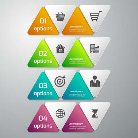 Vector illustration of business infographics 4 options . paper triangles. Vector
