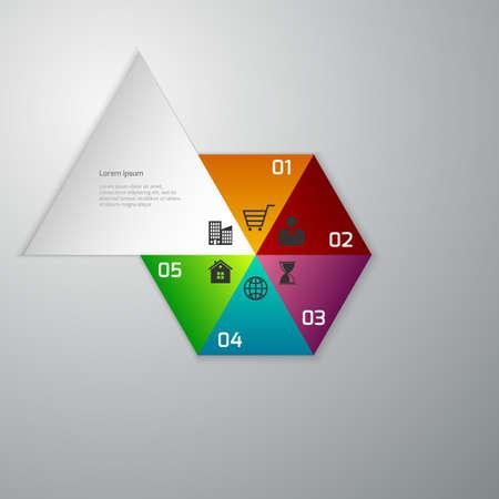 geteilt: Vector Illustration der Business-Infografiken. Hexagon in Sektoren unterteilt.
