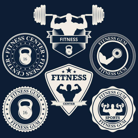 Vector illustration logos fitness center.