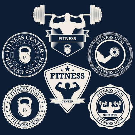 lifting: Vector illustration logos fitness center.