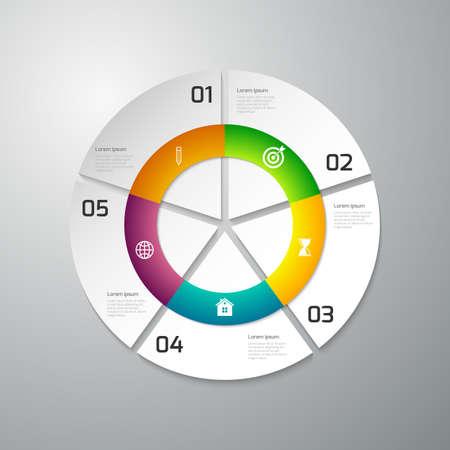 sectores: Ilustraci�n vectorial de papel infograf�a c�rculo dividido en sectores.