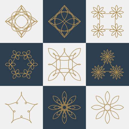Vector illustration of a set of monograms. Иллюстрация