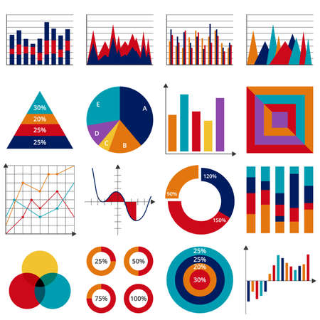Set of vector business charts.
