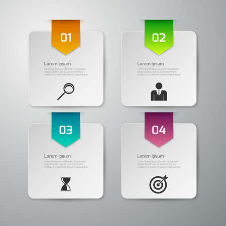 colour chart: Vector illustration of four square paper.