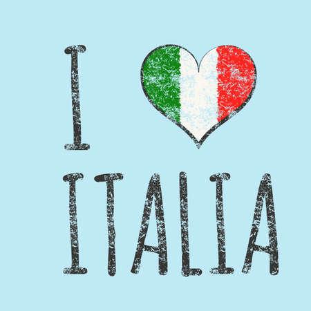 I love italia typography, t-shirt graphics. vector illustration. Vector