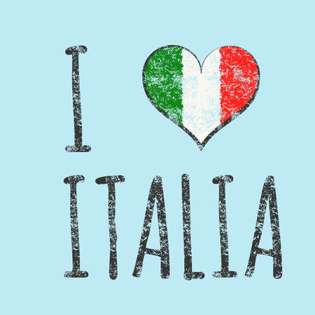 t shirt printing: I love italia typography, t-shirt graphics. vector illustration. Illustration