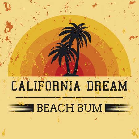 california dream typography, t-shirt graphics. vector illustration.
