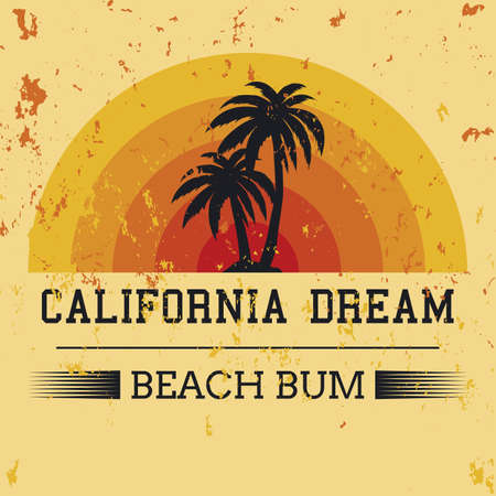 california dream typography, t-shirt graphics. vector illustration.