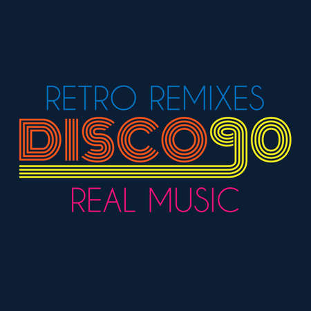 retro disco: disco 90 typography, t-shirt graphics. vector illustration.