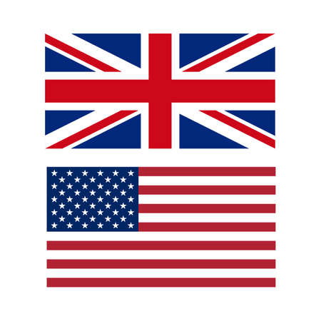 flag icons: Vector illustration of flags of the US and UK.