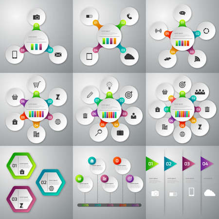 6 7: A set of illustrations of infographics. Templates for 3 4 5 6 7 8 options. stock vector.