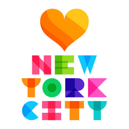 nyc color text typography, t-shirt graphics. Vector illustration.
