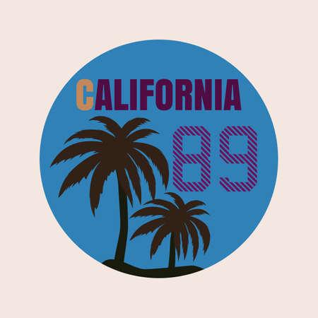 california coast: printing , t-shirt , California. stock vector. Illustration