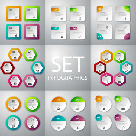 Vector illustration infographics set . Patterns 4 and 6 options.