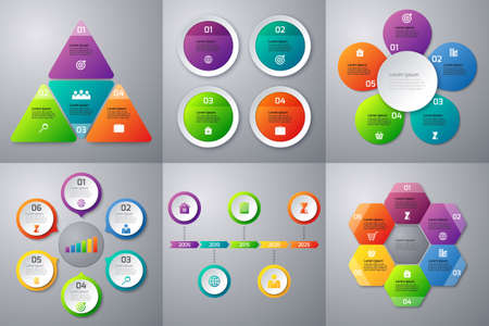 six: Stock Vector set of infographics. Templates for options 4 and 6. Timeline Template.