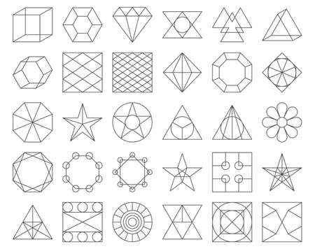 Set of vector trendy geometric icons. Vector illustration set of 30 linear figures