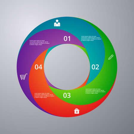 sectores: Ilustraci�n vectorial Infograf�a c�rculo con sectores.