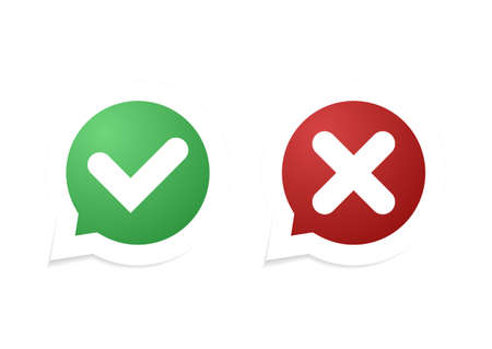 Vector Confirm and Cancel icon. Vector illustration.