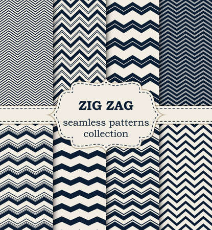 zig: Vector illustration of a set of seamless patterns zig zag.