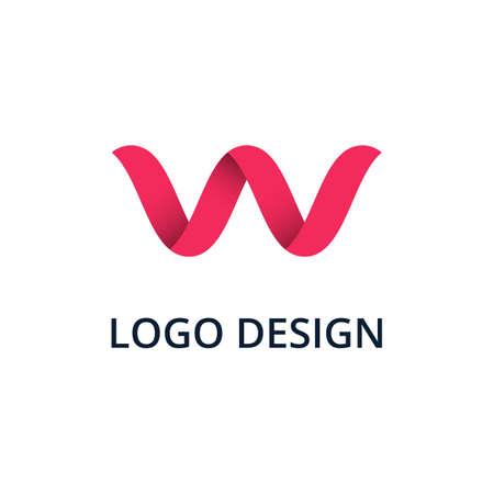 Vector illustration letter logo w.