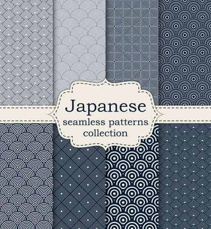 Vector illustration set of seamless patterns Japanese.