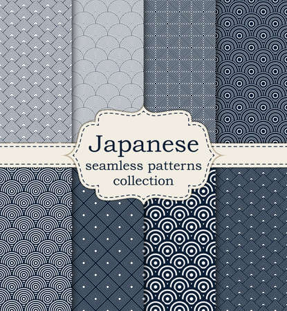 oriental: Vector illustration set of seamless patterns Japanese.