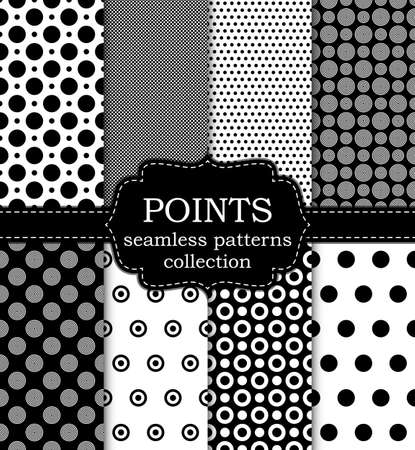 Vector illustration set of seamless patterns points.