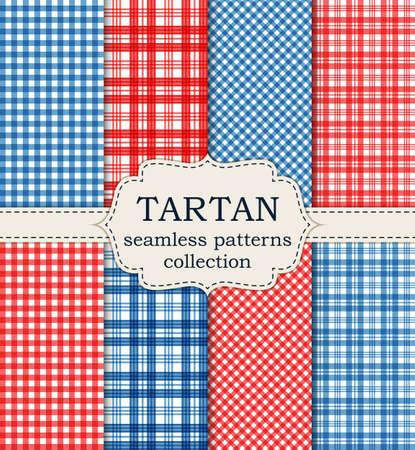 Vector illustration set of seamless tartan patterns.