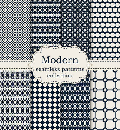 Vector illustration set of seamless modern patterns. Illustration