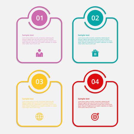 ベクトル イラスト インフォ グラフィックの線形正方形。フラットなデザイン。