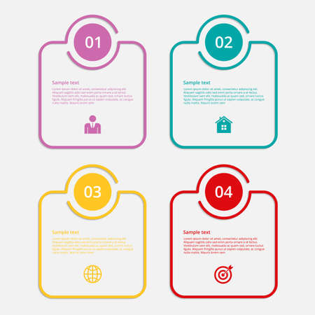 square buttons: Vector illustration infographics linear squares. Flat design.