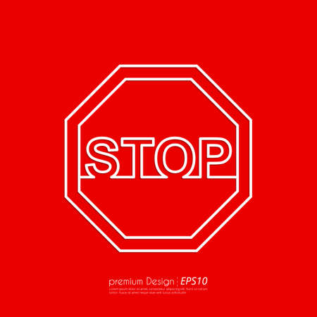 red black: Vector illustration Line stop sign. Flat design.