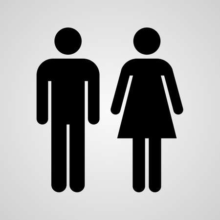 bathroom woman: Stock Vector Linear icon male and female. Flat design.