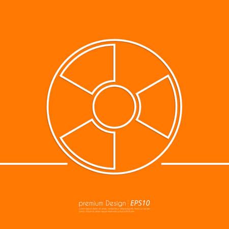 Stock Vector Linear icon radiation . Flat design.