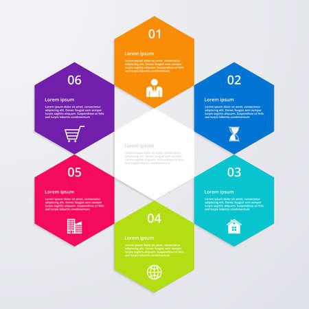 six: Vector illustration infographics six options.