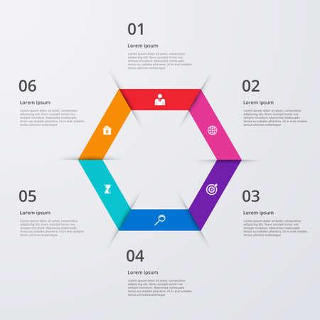 Vector illustration infographics six options.